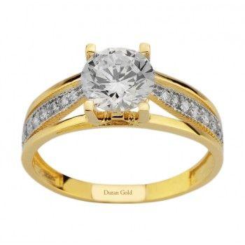 Şık Ve Zarif Taşlı Altın Yüzük : www.altinalalim.com #altin #altinyuzuk #gift