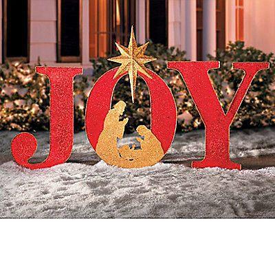 INSPIRATIONAL CHRISTMAS LARGE 4 FT OUTDOOR JOY NATIVITY YARD DECOR NEW