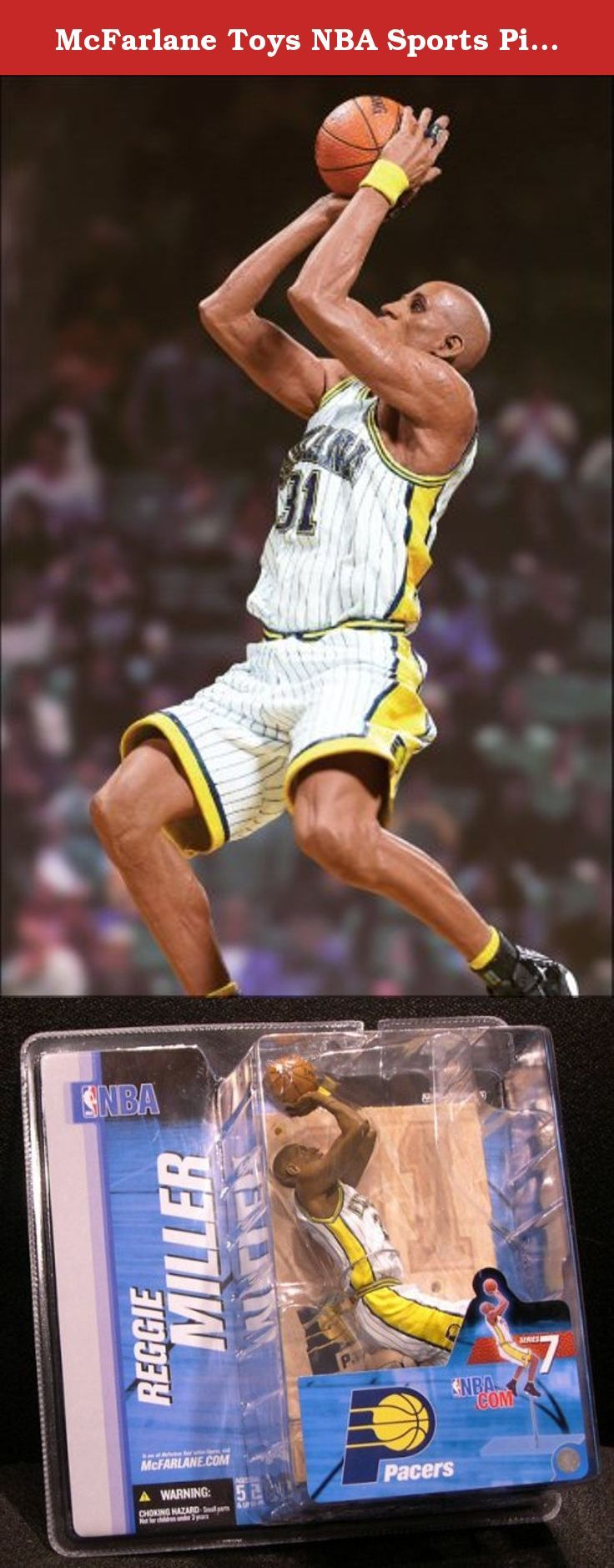 McFarlane Toys NBA Sports Picks Series 7 Action Figure Reggie Miller Yellow J. 6 inch Mcfarlane action figure - Reggie Miller in a jump shot pose, in a white and yellow Indiana Pacers jersey.