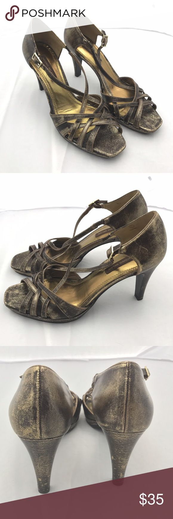 ANTONIO MELANI GOLD BROWN STRAPPY HEELS SIZE Gorgeous Antonio Melani high heels. SIZE 7.5 ANTONIO MELANI Shoes Heels