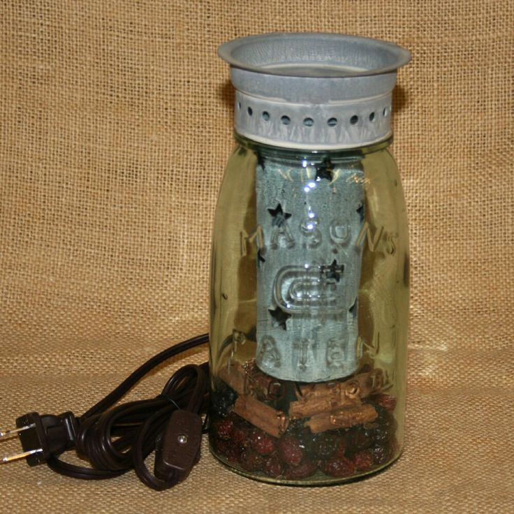 Gray Star Quart Mason Jar Electric Tart Warmer Country Primitive Punched Tin #Unbranded
