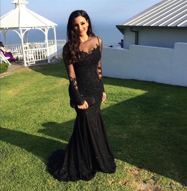 lace long sleeves mermaid black long v-neck backless cheap formal 2017 prom dress, PD1266