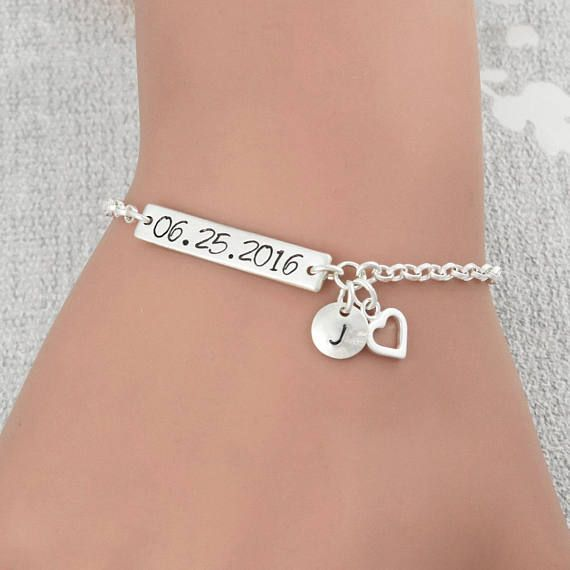 All Sterling Silver Bracelet With A Hand Stamped Custom Date Plate
