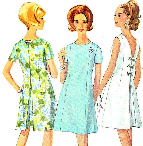1960s Dress Pattern Simplicity 7147 Mod V Back A by paneenjerez, $14.00
