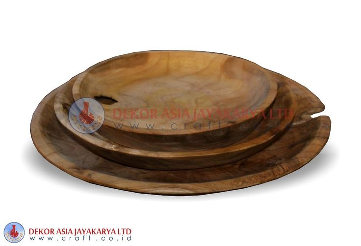 PLATE SET OF 3, WOOD BOWLS