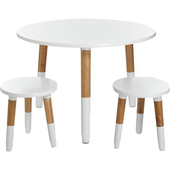 Modern Kids White Wooden Table & Chairs
