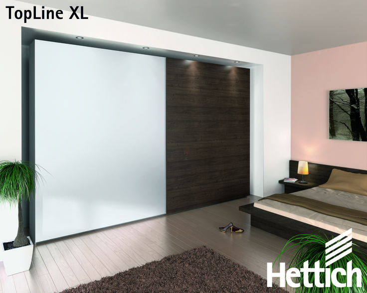 The TopLine XL is specifically designed to support heavy doors weighing up to 80kg with superior whisper-quiet running action. Available from Hettich, Click on the pin for more inspiration & information! #slidingdoors #wardrobedesign