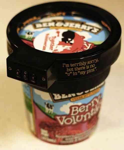 ben & jerry's eurphori-lock, an ice cream pint combination lock $6.64: Cream Lock, Idea, Pint, Locks, Ice Cream, Icecream