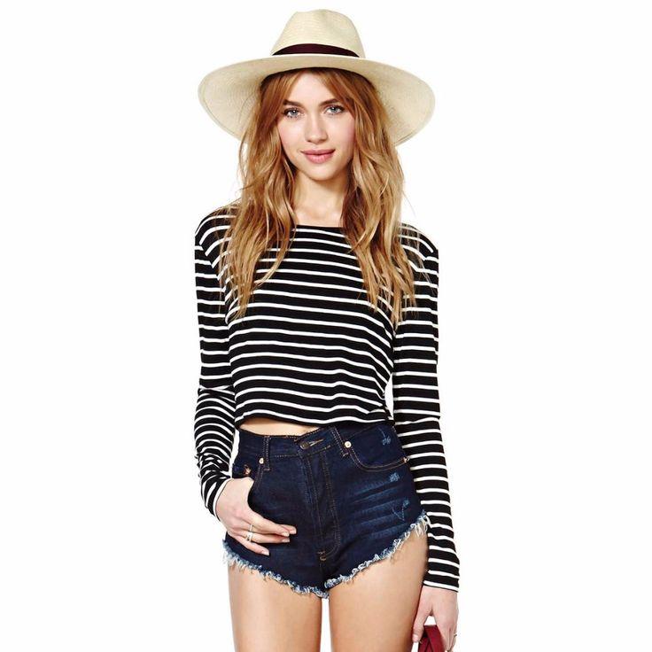2016-Women-shirt-striped-Black-And-White