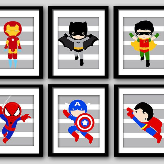 Superhero Art For Little Boys: Superhero Bedroom Wall Decor Prints, Gray Stripes Or Any
