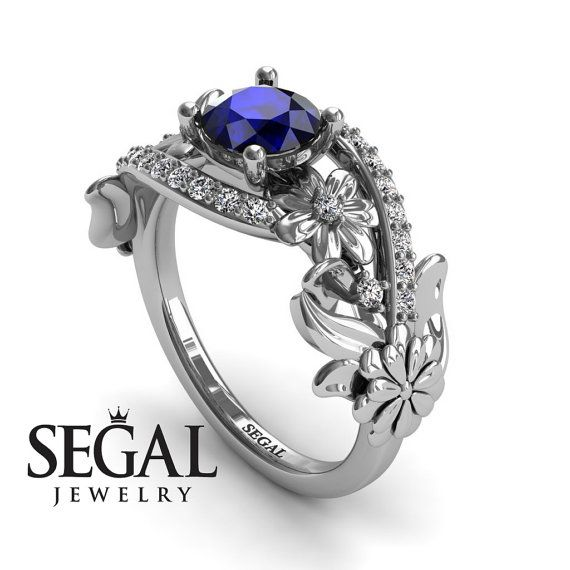 Sapphire Engagement Ring White Gold Blue Sapphire Ring Flower