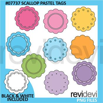 Scallop pastel tags/ scallop label clip art set for commercial use. Lovely collection in soft pastel colors. There are 9 designs. Black and white version is also included.Great resource for any school and classroom projects such as for creating bulletin board, printable, worksheet, classroom decor, craft materials, activities and games, and for more educational and fun projects.Format File:- Each clipart saved separately in PNG format, 300 dpi with transparent background.Commercial license…