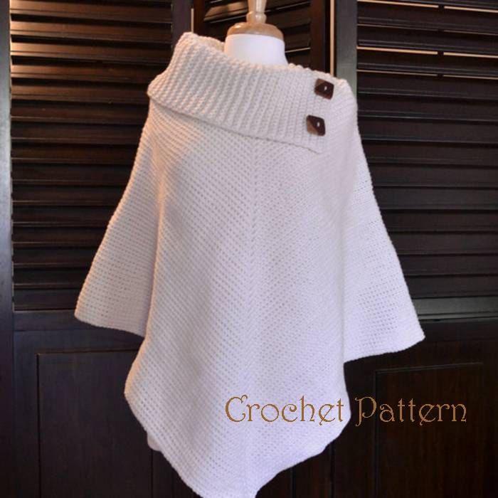 Crochet Poncho Pattern, Cowl Neck Poncho, Womens Poncho, CROCHET PATTERN, Automatic Download by CharacterCrochet on Etsy https://www.etsy.com/listing/110582319/crochet-poncho-pattern-cowl-neck-poncho