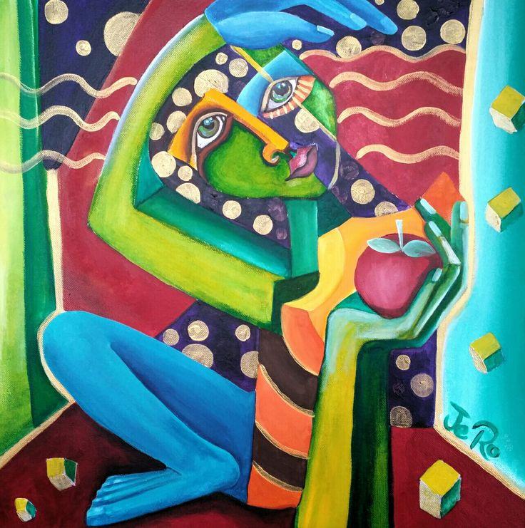 Schneewittchen und der Froschkönig  Teil 3 Acryl auf Leinwand  50 x 50 von Jeanett Rotter