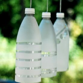 Party light decoration made out of recycled water bottle.