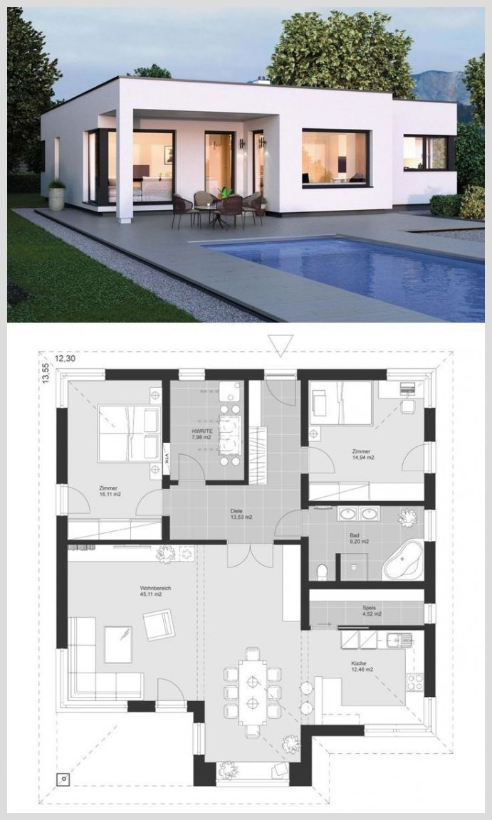 Modern Architecture House 49179 Modern Bauhaus Style Bungalow With Flat Roof Architecture Floo In 2020 Modern Bungalow House Architecture Design Bungalow House Plans