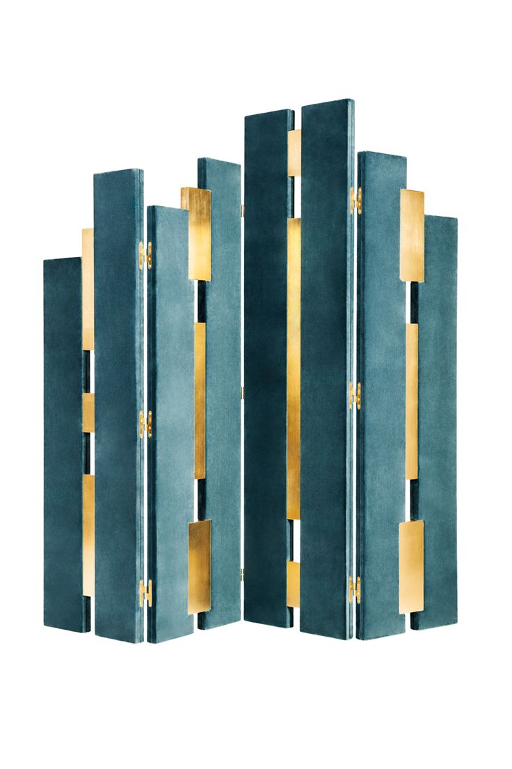 Empire | Folding Screen | Aesthetics inpired by the twentieth century architecture, with lines of Art Deco. http://www.munnadesign.com/en/collection-time/empire-screen #munnadesign #empirefoldingscreen #steelblue