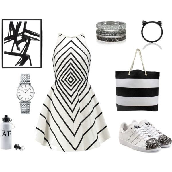 black illusions by inogitnadesigns on Polyvore featuring Halston Heritage, adidas Originals, Longines, Bernard Delettrez and Kate Spade