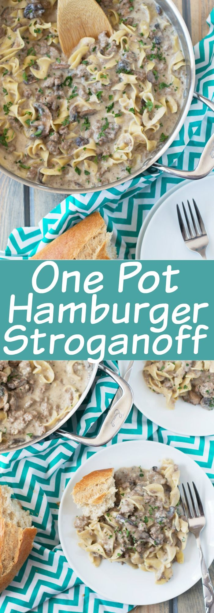 One Pot Hamburger Stroganoff is a quick and easy recipe. Ground beef, onions, mushrooms and egg noodles all cooked in a creamy sauce. (no cream of mushroom soup) | www.countrysidecravings.com