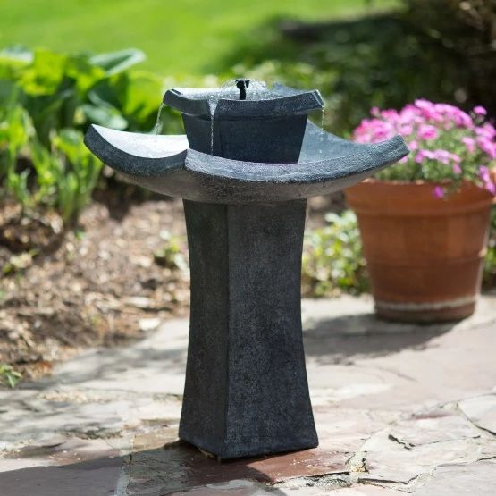 Modern Zen Solar-on-Demand Outdoor Fountain