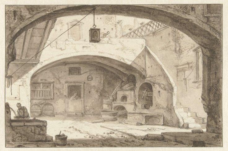 Thomas Wijck | Italiaanse binnenplaats met een bakkerij, Thomas Wijck, 1644 - 1653 | Gezicht door een boog op een Italiaanse binnenplaats met trap en put.