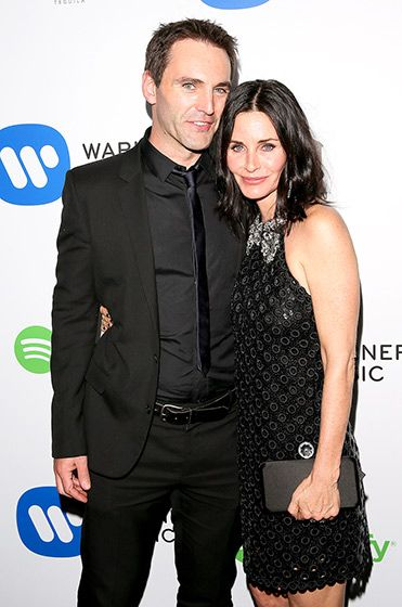 Courteney Cox supported her fiancé Johnny McDaid (of the band Snow Patrol) at Warner's Grammys fete at Chateau Marmont in West Hollywood Feb. 8.