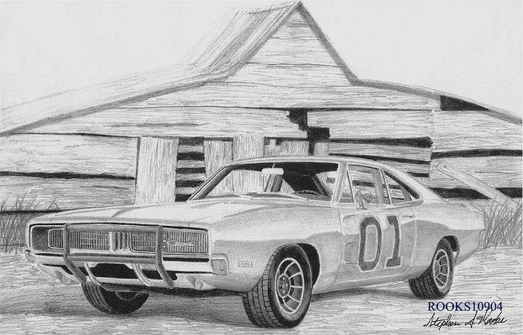 1969 Dodge Charger General Lee MUSCLE CAR ART PRINT Drawing by Stephen Rooks - 1969 Dodge Charger