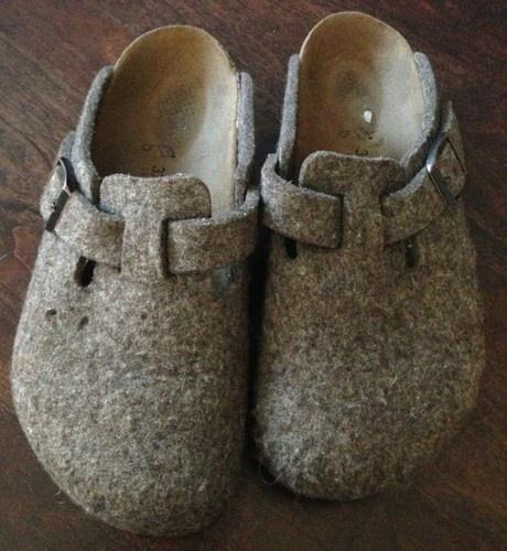$35.99 free Shipping Birkenstock 37 US 6 Mule Casual Brown Wool Felt Clog Shoes