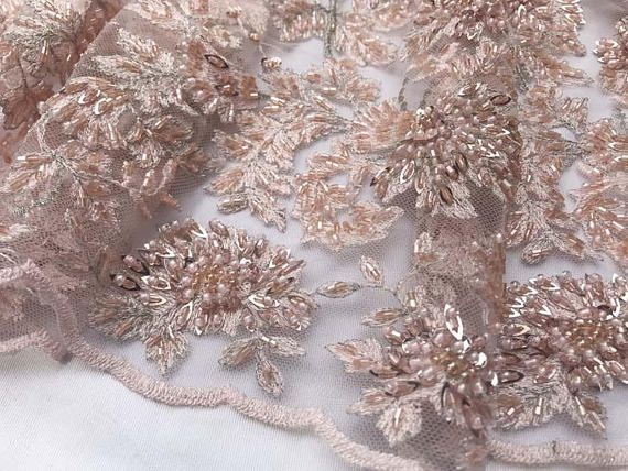 Shop Beaded Fabric Mint Lace By The Yard Embroidered Lace With Beads And Sequins French Bridal