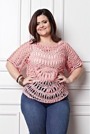 Plus Size - Blusa Rosa