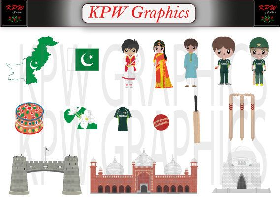 Pakistan Dolls of the World Clipart Set in a PNG by KPWgraphics