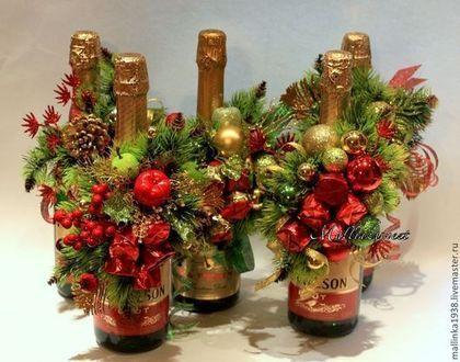 Новый год 2015 ручной работы. Ярмарка Мастеров - ручная работа Букет из конфет, украшение новогоднее шампанского 2015. Handmade.