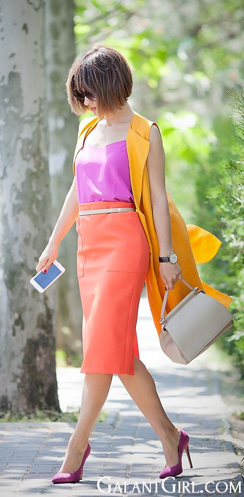 Breaking the line with color, body con layer with body vest, angular accessories, boyishly tossled hair.