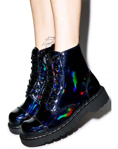 T.U.K. Mix Paint 7 Eye Combat Boots | Dolls Kill