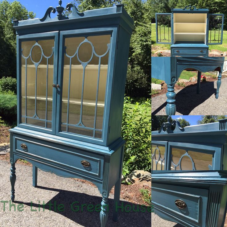 Hutch done in Annie Sloan Aubusson Blue and Old White.