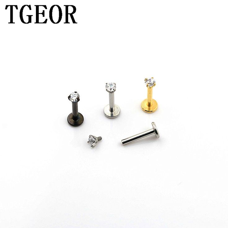 free shipping Hot 16G lip piercing 30pcs surgical Stainless Steel gem CZ zircon internally thread titanium plated labret ring