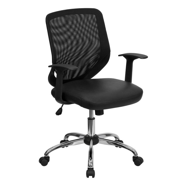 this black mesh office chair features a mesh back and an italian leather seat to provide you with an elegant yet modern chair
