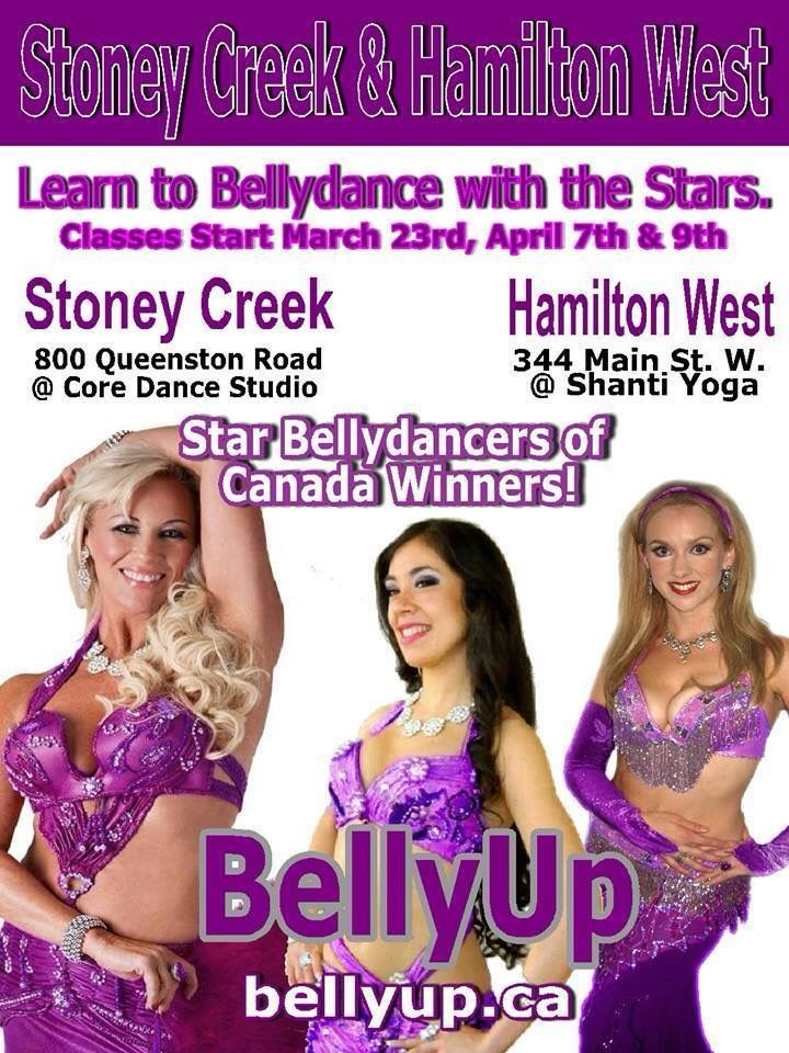 Hamilton Belly Dance Classes have started and Stoney Creek starts soon!  Learn from the winners of the Star Bellydancer of Canada Competition.  Come dance with the *stars*  and sign up now! https://bellyup.ca/?q=hamilton