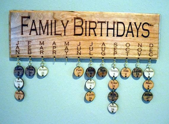 """New and improved! This whimsical Family Birthday Board is handcrafted and laser engraved. The wood plaque is made from solid 1/2"""" Cherry wood and is laser engraved and finished on both sides with 3 coats of Shellac Varnish. The small wood circles are a mixture of cherry, birch and mahogany and are finished on both sides as well.I can also make this plaque to say """"FAMILY CELEBRATIONS"""" if you prefer. Simply let me know in the comments section when you order!Plaque measures 14.5"""" wide and 5""""…"""