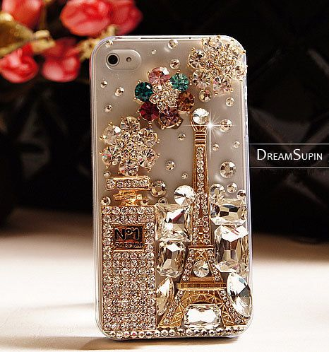 Perfume bottle and tower phone cover Transparent phone case for iPhone4 and iPhone 4S. $29.00, via Etsy.