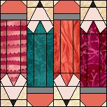 Pencil Quilt Block - cute idea for stained glass too.