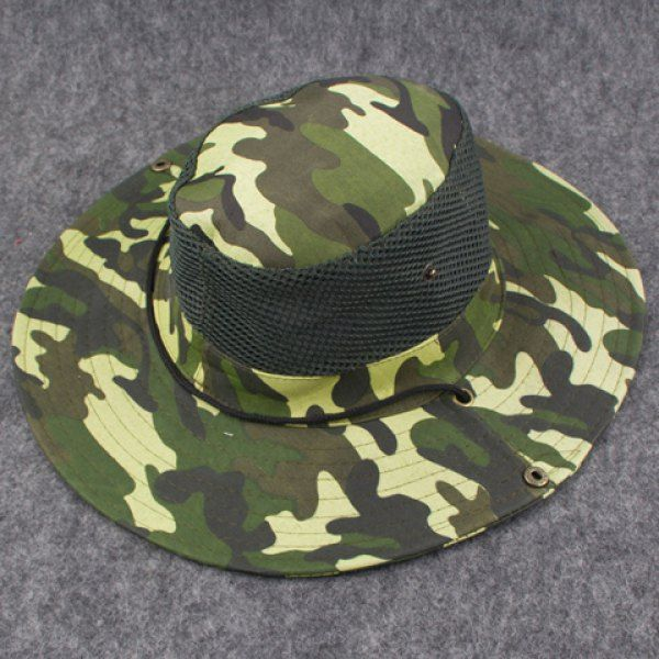 Stylish Breathable Net and Button Embellished Camouflage Pattern Men's Bucket Hat #women, #men, #hats, #watches, #belts, #fashion