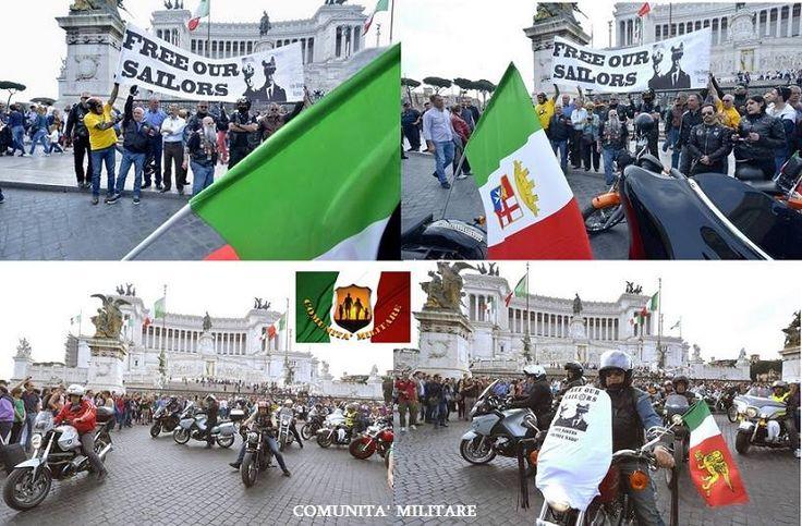 Comunita' Militare MARO' - 25 aprile a piazza Venezia,  compare striscione «liberate i nostri marò» ..... Terminata la celebrazione del 70esimo anniversario della Liberazione a piazza Venezia a Roma, un gruppo di bikers Harley Davidson ha esposto uno striscione per la liberazione dei marò . http://roma.corriere.it/foto-gallery/cronaca/15_aprile_25/25-aprile-piazza-venezia-compare-striscione-liberate-nostri-maro-3c1d1f46-eb3d-11e4-aaae-29597682dafd.shtml