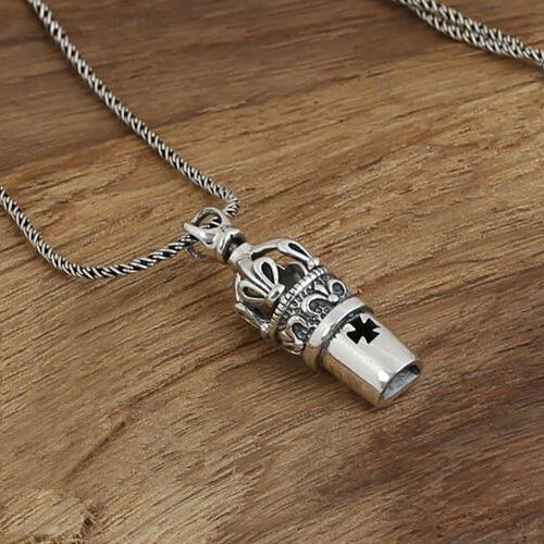 """Men's Sterling Silver Whistle Pendant Necklace with Sterling Silver Rope Chain 18""""-24"""""""