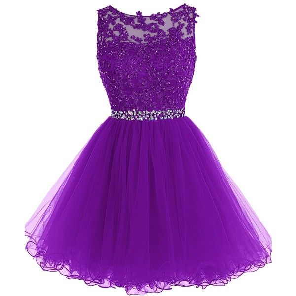 Tideclothes Short Beaded Prom Dress Tulle Applique Evening Dress ($105) ❤ liked on Polyvore featuring dresses, vestidos, purple, short dresses, purple prom dresses, short prom dresses, purple homecoming dresses and tulle prom dress