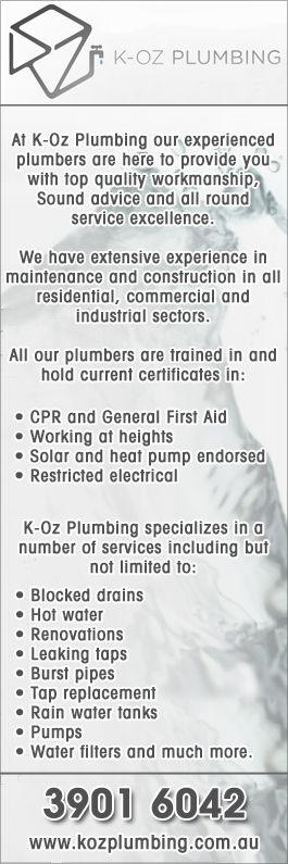 K-Oz plumbing yellowpages