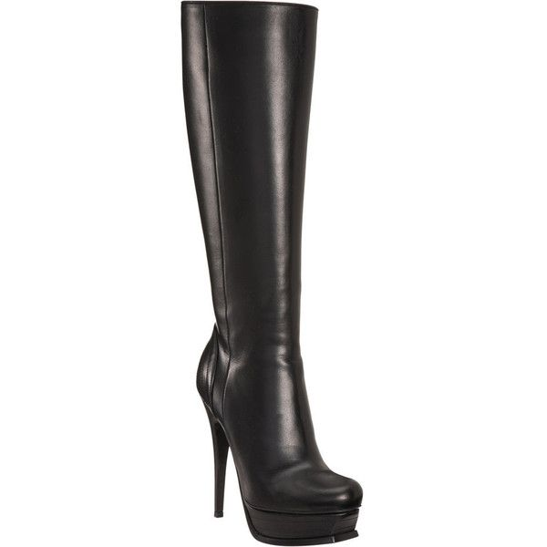 Yves Saint Laurent Tribute Kneeboot - Black size 6.5 (1.990 BRL) ❤ liked on Polyvore featuring shoes, boots, black boot, clothing & accessories, footwear, women, knee-high boots, knee high boots, black knee high boots and real leather boots