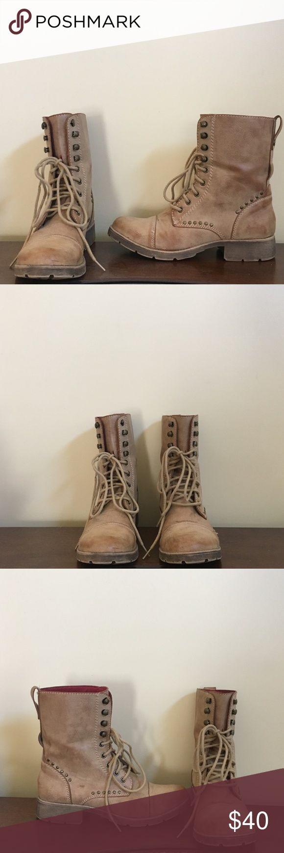 American Rag Beige Combat Boots American Rag beige combat boots with beaded detailing. Woman's size 8. Only worn a handful of times. Great condition! American Rag Shoes Combat & Moto Boots