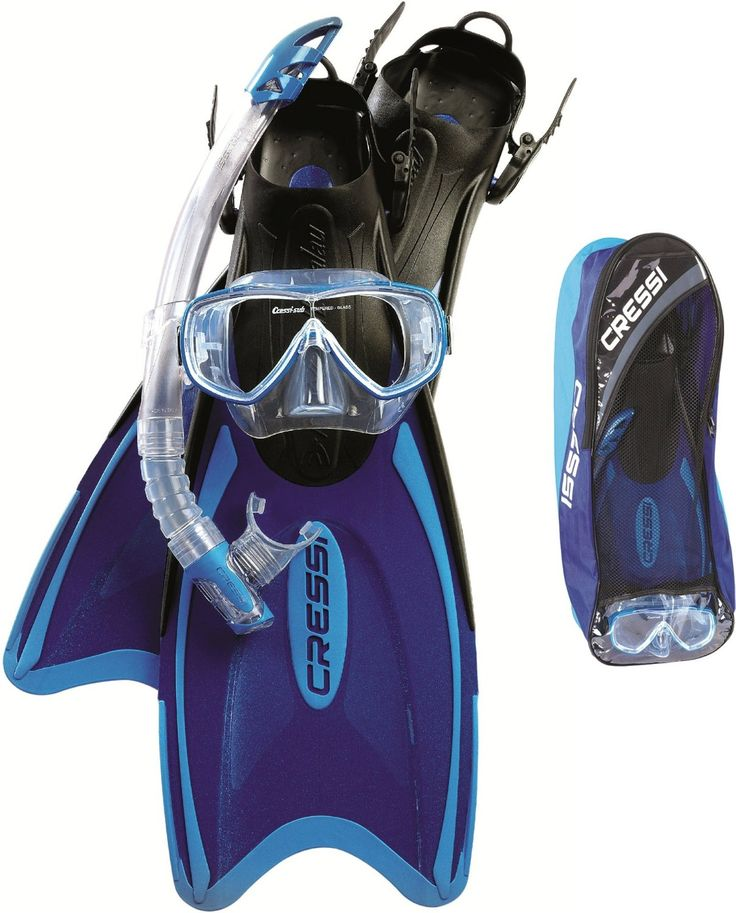 Cressi Scuba Snorkeling Mask Fins Snorkel Set (Made in Italy): Sports & Outdoors