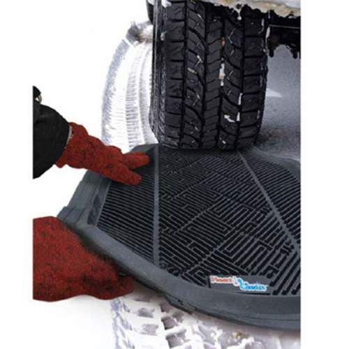 Wow!! Use car mats to get your car traction when you're stuck in the snow!!!